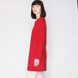 Платье прямое в стиле свитшота с длинными рукавами PEPALOVES. Цвет: красный