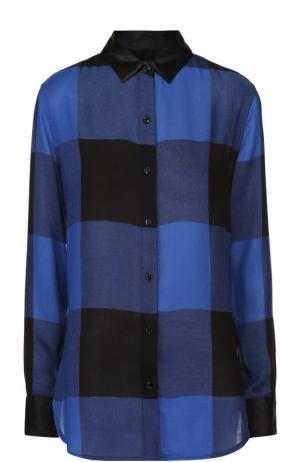 Блуза прямого кроя в клетку с шелковой отделкой воротника Rag&Bone. Цвет: синий