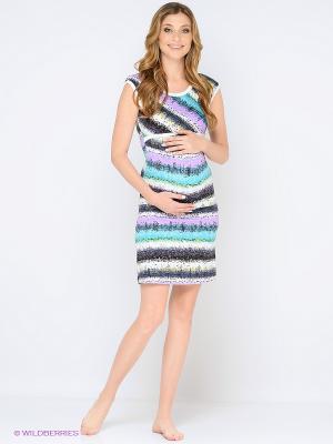 Ночная сорочка для беременных и кормления 40 недель. Цвет: бирюзовый, сиреневый