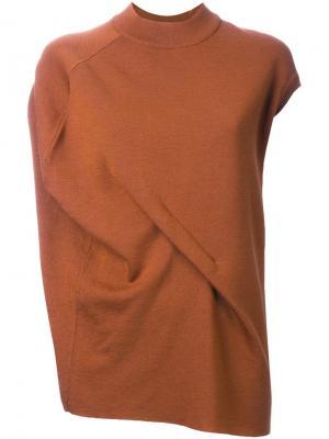 Асимметричная футболка с драпировкой Enföld. Цвет: коричневый