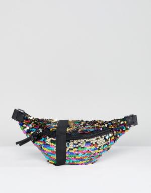 Glamorous Сумка-кошелек на пояс с пайетками. Цвет: мульти