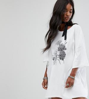 Milk It Платье-футболка в стиле оверсайз с чокером-завязкой Vintage. Цвет: белый