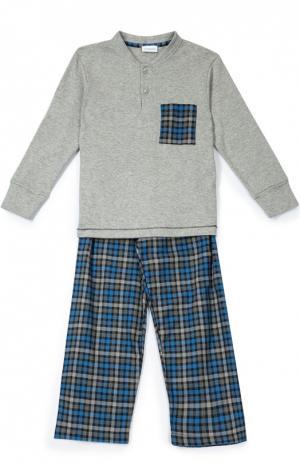 Хлопковая пижама в клетку Grigioperla. Цвет: серый