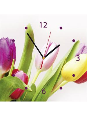 Настенные часы Contento. Цвет: зеленый,желтый,белый