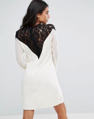 Little Mistress Платье-туника с длинными рукавами и кружевными вставками на плечах Lit. Цвет: кремовый