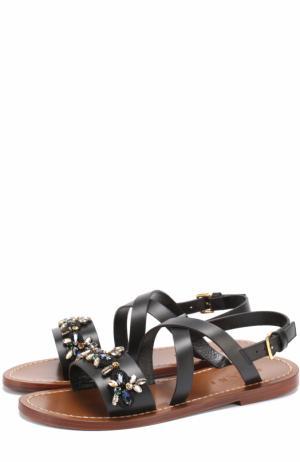 Кожаные сандалии с кристаллами Marni. Цвет: черный