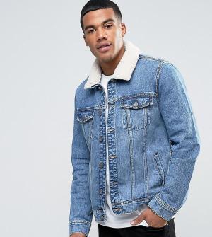 Brooklyn Supply Co. Голубая куртка с искусственным мехом Co. Цвет: синий
