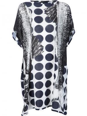 Платье в горох с принтом рыб Area Di Barbara Bologna. Цвет: чёрный