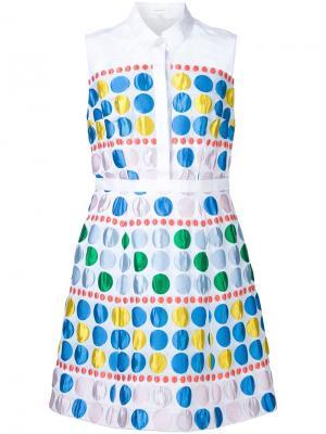 Расклешенное платье-рубашка без рукавов Delpozo. Цвет: белый