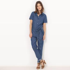 Комбинезон с брюками из денима, короткие рукава VILA. Цвет: синий потертый