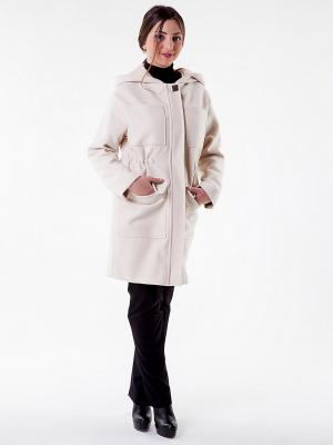 Пальто бежевое с капюшоном Glam Goddess. Цвет: бежевый