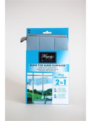Перчатка из микрофибры для стекол и зеркал Microfiber gloves Glass, 22 х 14 см Hagerty. Цвет: лазурный