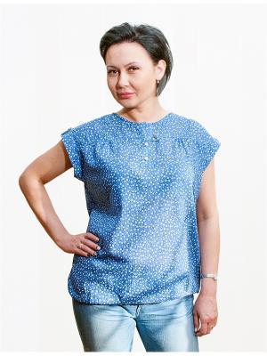 Блузка Castlelady. Цвет: синий, белый