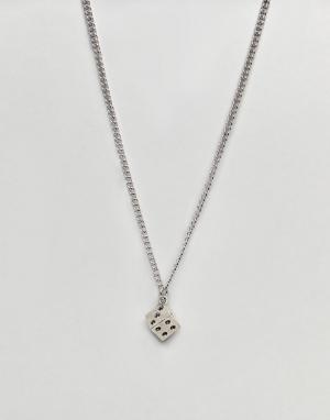 ASOS Серебристое ожерелье с подвеской в виде игральной кости. Цвет: серебряный