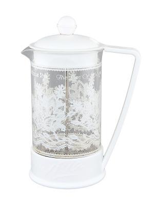 Чайник с поршнем Viva - Кружево Вологда Elan Gallery. Цвет: прозрачный, белый