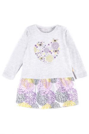Платье Coccodrillo. Цвет: серый, фиолетовый, желтый