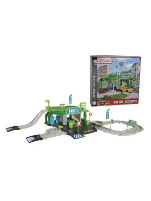 Заправочная станция creatix + 1 авто, 78х39х20 см.,1/4 Majorette. Цвет: зеленый, серый, черный