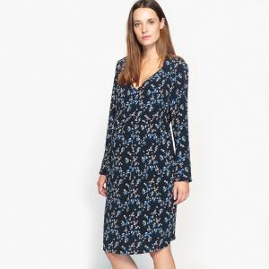 Платье с цветочным рисунком для периода беременности La Redoute Collections. Цвет: рисунок/фон темно-синий