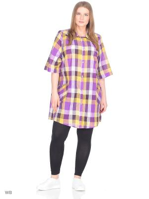 Блузка MASTERITSA NEW CLASSIC. Цвет: желтый, коричневый, фиолетовый