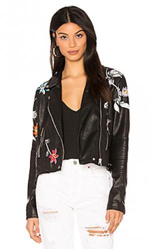 Куртка из искусственной кожи с вышивкой BLANKNYC. Цвет: черный