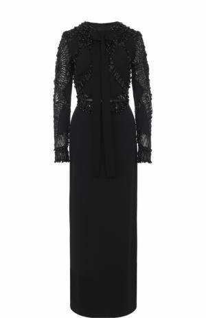Приталенное платье-макси с вышивкой Elie Saab. Цвет: черный