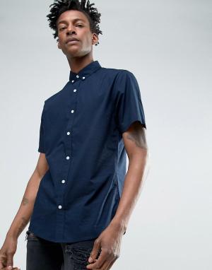 Troy Поплиновая рубашка с коротким рукавом. Цвет: темно-синий