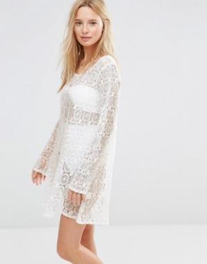 Anmol Платье мини кроше с принтом металлик. Цвет: белый