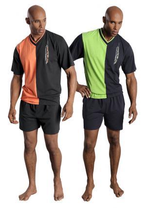 Пижама с шортами, 2 штуки LE JOGGER. Цвет: зеленый+оранжевый