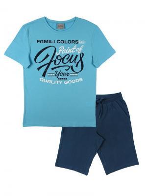 Комплект мужской (футболка, шорты) Family Colors. Цвет: голубой