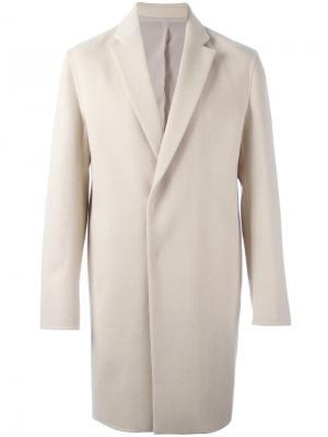Однобортное пальто System Homme. Цвет: телесный