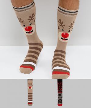 Urban Eccentric Набор из 2 пар новогодних носков в подарочной упаковке. Цвет: мульти