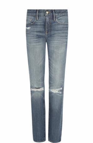 Укороченные джинсы прямого кроя с потертостями Frame Denim. Цвет: голубой