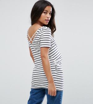 New Look Maternity Футболка в полоску для беременных с перекрестной спинкой Mate. Цвет: синий