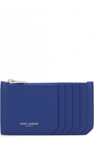 Футляр для кредитных карт с отделением на молнии Saint Laurent. Цвет: синий