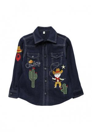 Рубашка джинсовая Fleur de Vie. Цвет: синий