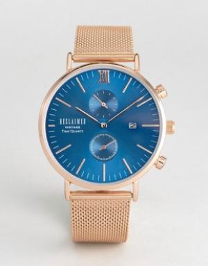 Reclaimed Vintage Розово-золотистые часы с сетчатым браслетом и циферблатом Vi. Цвет: золотой