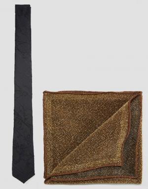 ASOS Галстук и блестящий платок для нагрудного кармана Wedding. Цвет: мульти