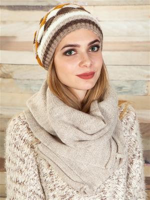 Комплект (шапка, шарф) LORICCI. Цвет: бежевый