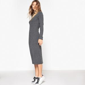 Платье трикотажное в рубчик, приталенный крой La Redoute Collections. Цвет: черный
