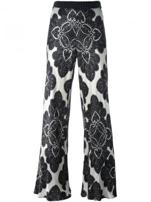 Floral print flared trousers Hache. Цвет: чёрный