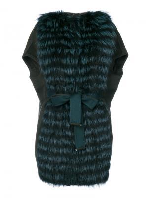Жилет с поясом Guy Laroche Vintage. Цвет: зелёный