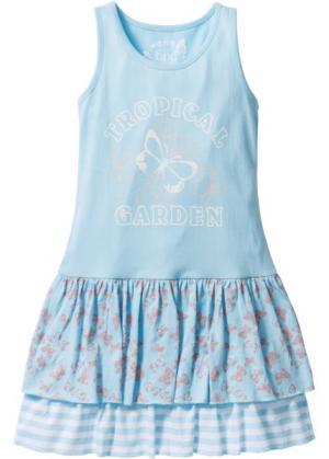Трикотажное платье (нежно-голубой с рисунком) bonprix. Цвет: нежно-голубой с рисунком