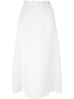 Юбка А-образного кроя  с аппликацией Rochas. Цвет: белый