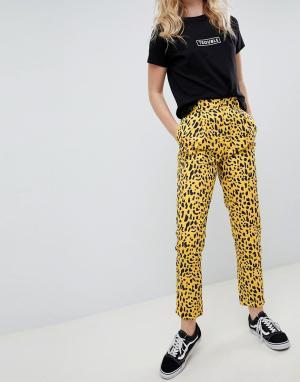 Daisy Street Прямые брюки со звериным принтом. Цвет: желтый