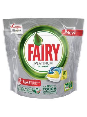 Средство для мытья посуды в капсулах посудомоечных машин Platinum Лимон 10шт Fairy. Цвет: зеленый, белый