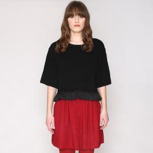 Пуловер с воланом по низу, рукава 3/4 PEPALOVES. Цвет: черный