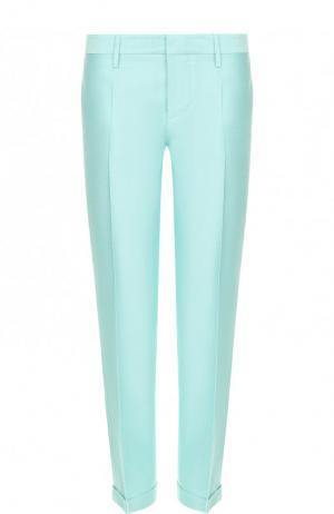 Укороченные брюки из смеси хлопка и шелка Dsquared2. Цвет: бирюзовый