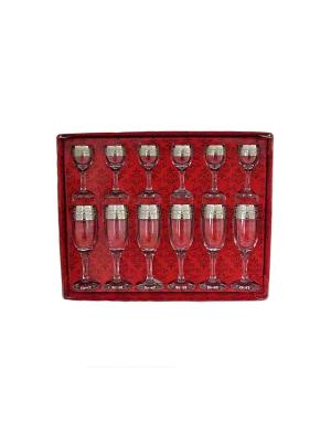 Набор 12 предметов  бокал рюмка с рисунком Версаче Гусь-Хрустальный. Цвет: прозрачный