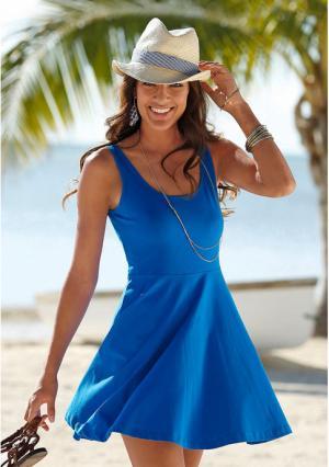 Пляжное платье BEACH TIME. Цвет: королевский синий, черный
