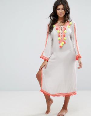 America & Beyond Пляжное платье с отделкой помпонами. Цвет: белый